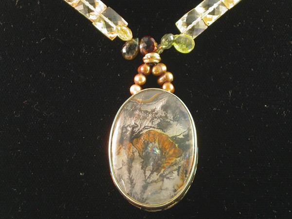 Dendritic Tree Agate - 14 kt gold and faceted pillow citrine.