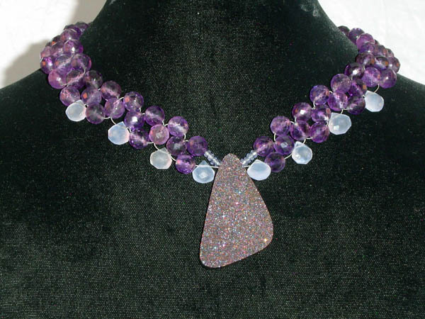 Woven Amethyst and Drusy Titanium coated Quartz and Blue Chalcedony