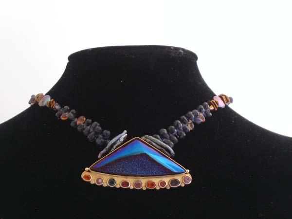 Titanium Coated Drusy Quartz and 14 kt gold with Ionite, Spinel and Sapphires